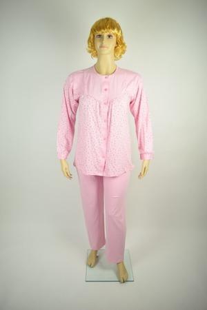 Piżama Damska Rozpinana Tradycyjna DUŻA Różowa