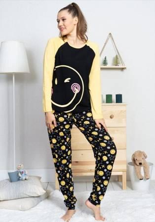 piżama damska EMOJI czarny/żółty XL/42