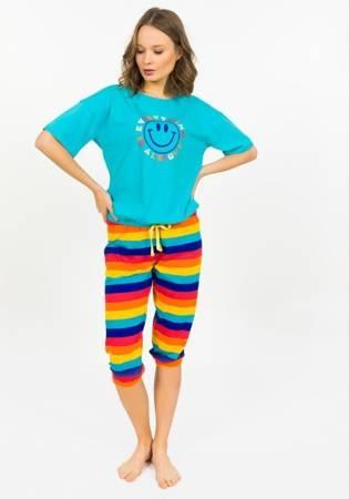 piżama damska SMILEY turkus/multikolor M/38