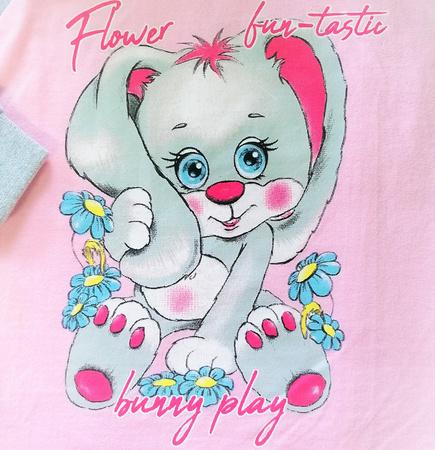 piżamka dziewczęca dł.ręk. róż/sz 92 cm - KRÓLIK